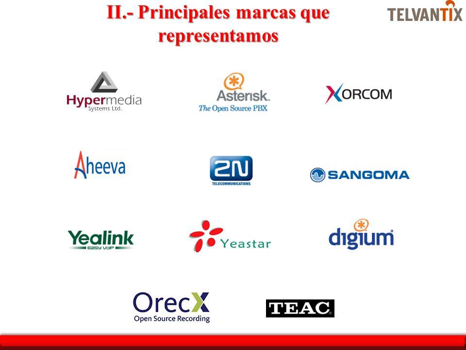 II.- Principales marcas que representamos