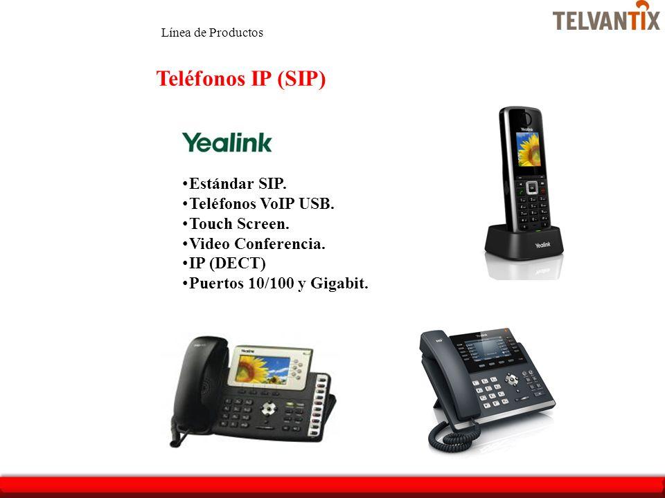 Teléfonos IP (SIP) Estándar SIP. Teléfonos VoIP USB. Touch Screen. Video Conferencia. IP (DECT) Puertos 10/100 y Gigabit. Línea de Productos