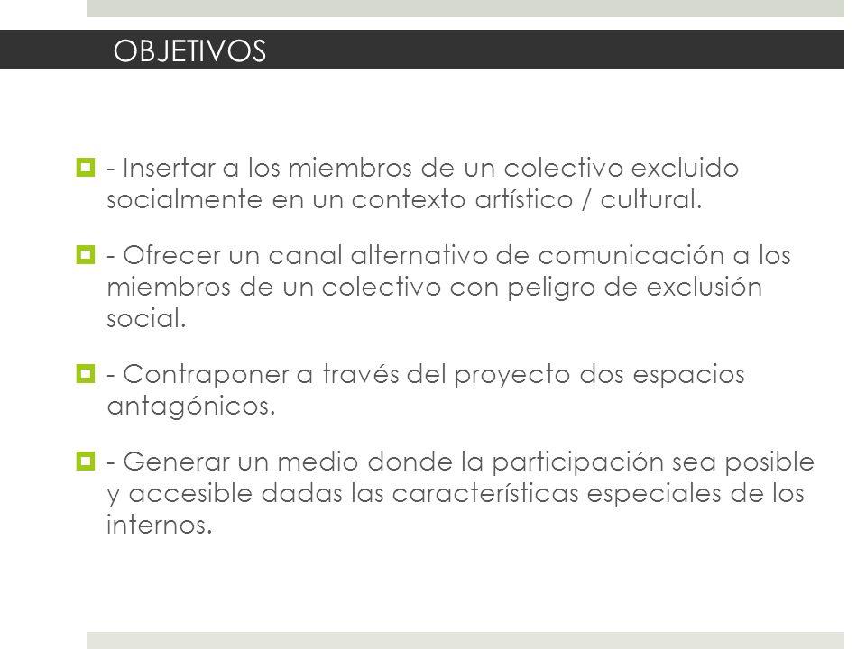 OBJETIVOS - Insertar a los miembros de un colectivo excluido socialmente en un contexto artístico / cultural.