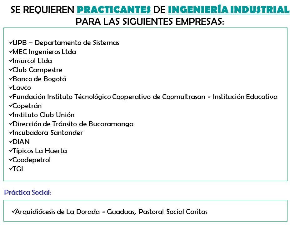 CONVOCATORIA SE REQUIEREN ESTUDIANTES DE INGENIERÍA INDUSTRIAL PARA EJECUCIÓN DE LOS SIGUIENTES PROYECTOS DE GRADO: 1.