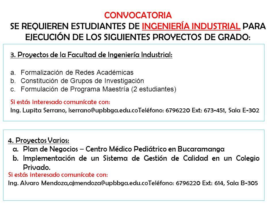 CONVOCATORIA SE REQUIEREN ESTUDIANTES DE INGENIERÍA INDUSTRIAL PARA EJECUCIÓN DE LOS SIGUIENTES PROYECTOS DE GRADO: 3. Proyectos de la Facultad de Ing
