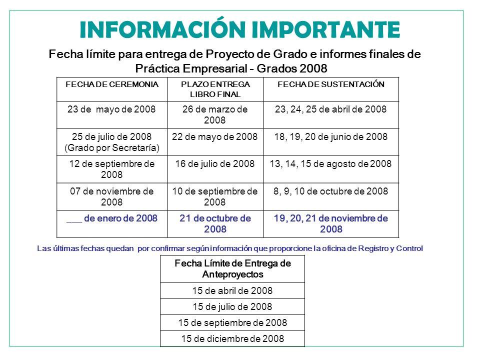 INFORMACIÓN IMPORTANTE Fecha límite para entrega de Proyecto de Grado e informes finales de Práctica Empresarial - Grados 2008 FECHA DE CEREMONIAPLAZO