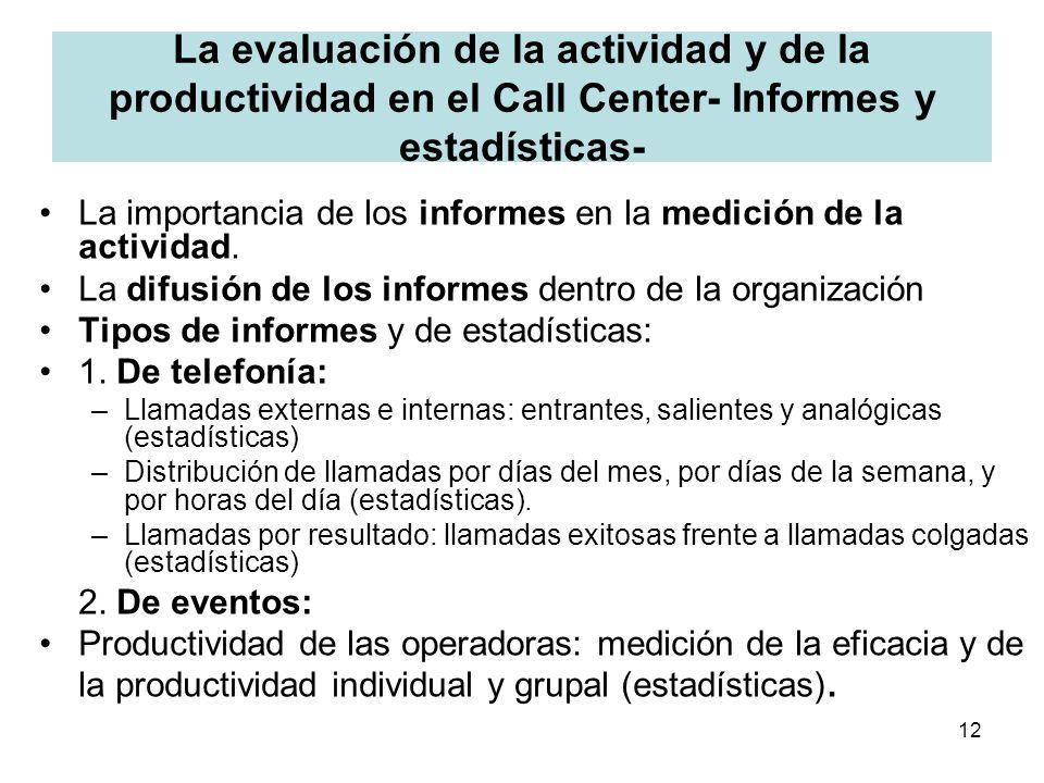 12 La evaluación de la actividad y de la productividad en el Call Center- Informes y estadísticas- La importancia de los informes en la medición de la