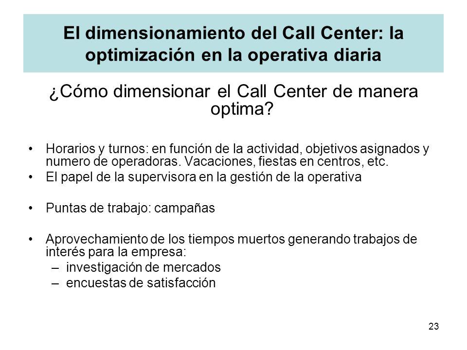 23 El dimensionamiento del Call Center: la optimización en la operativa diaria ¿Cómo dimensionar el Call Center de manera optima? Horarios y turnos: e