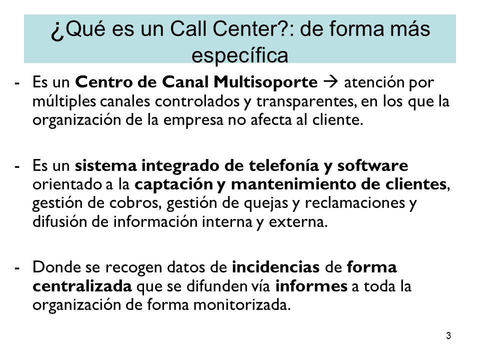 3 ¿ Qué es un Call Center?: de forma más específica -Es un Centro de Canal Multisoporte atención por múltiples canales controlados y transparentes, en