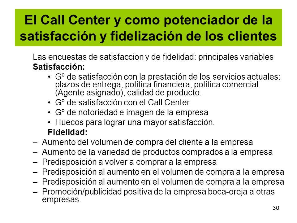 30 El Call Center y como potenciador de la satisfacción y fidelización de los clientes Las encuestas de satisfaccion y de fidelidad: principales varia