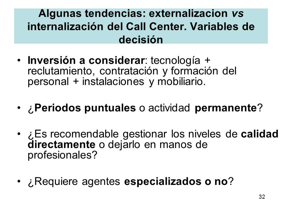 32 Algunas tendencias: externalizacion vs internalización del Call Center. Variables de decisión Inversión a considerar: tecnología + reclutamiento, c