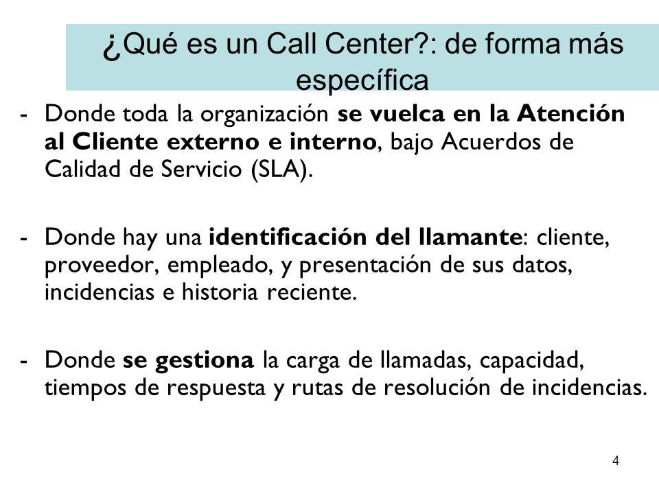 4 ¿ Qué es un Call Center?: de forma más específica -Donde toda la organización se vuelca en la Atención al Cliente externo e interno, bajo Acuerdos d