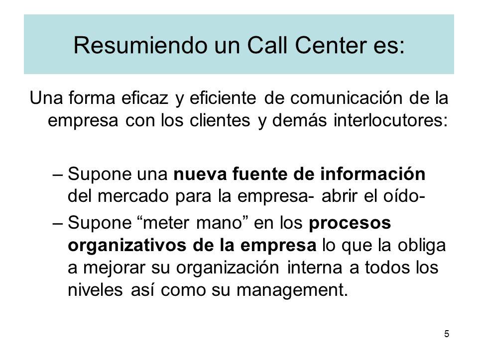 5 Resumiendo un Call Center es: Una forma eficaz y eficiente de comunicación de la empresa con los clientes y demás interlocutores: –Supone una nueva