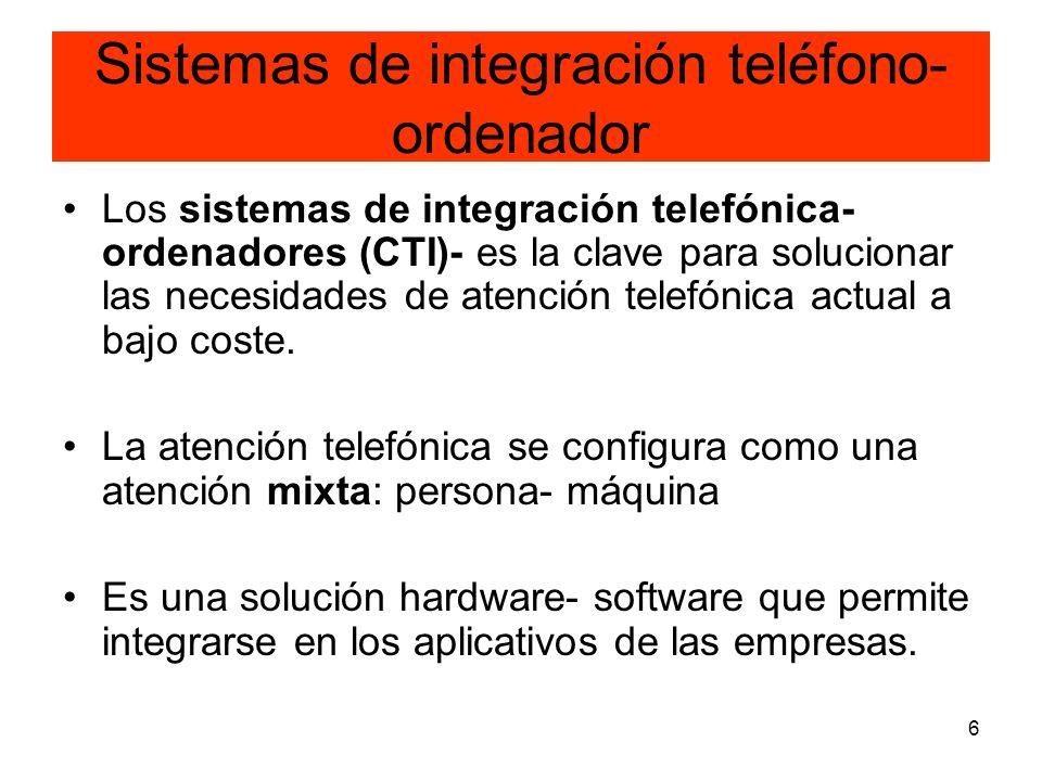 6 Sistemas de integración teléfono- ordenador Los sistemas de integración telefónica- ordenadores (CTI)- es la clave para solucionar las necesidades d