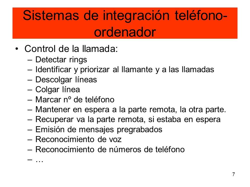 7 Sistemas de integración teléfono- ordenador Control de la llamada: –Detectar rings –Identificar y priorizar al llamante y a las llamadas –Descolgar