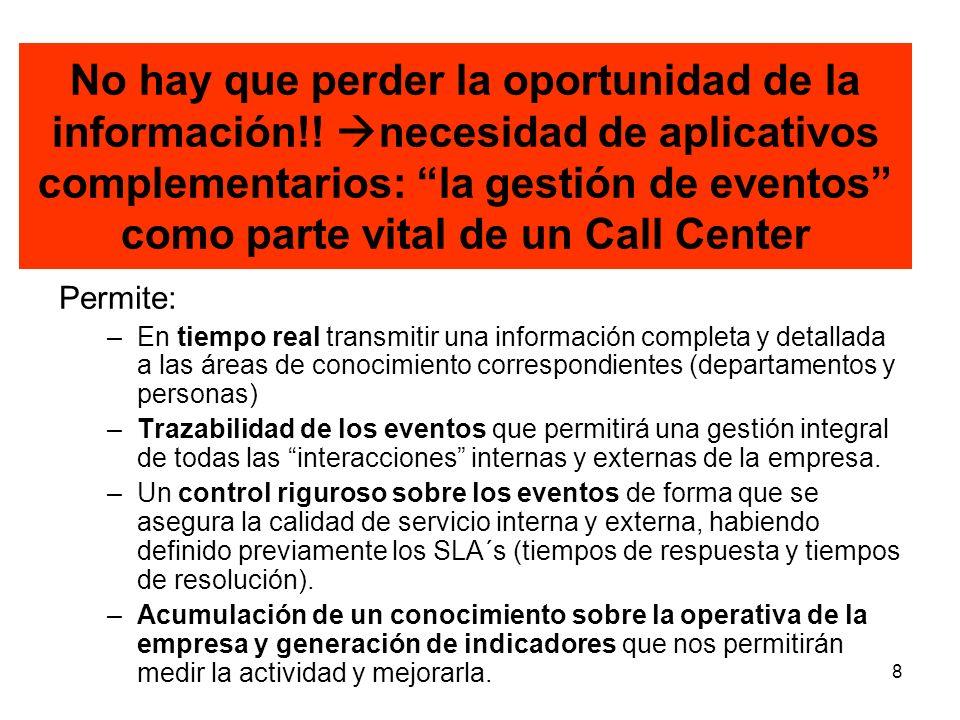8 No hay que perder la oportunidad de la información!! necesidad de aplicativos complementarios: la gestión de eventos como parte vital de un Call Cen