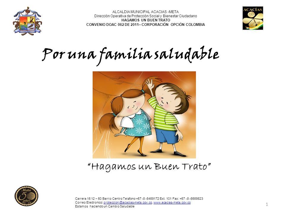 1 Por una familia saludable Hagamos un Buen Trato ALCALDIA MUNICIPAL ACACIAS -META Dirección Operativa de Protección Social y Bienestar Ciudadano HAGA