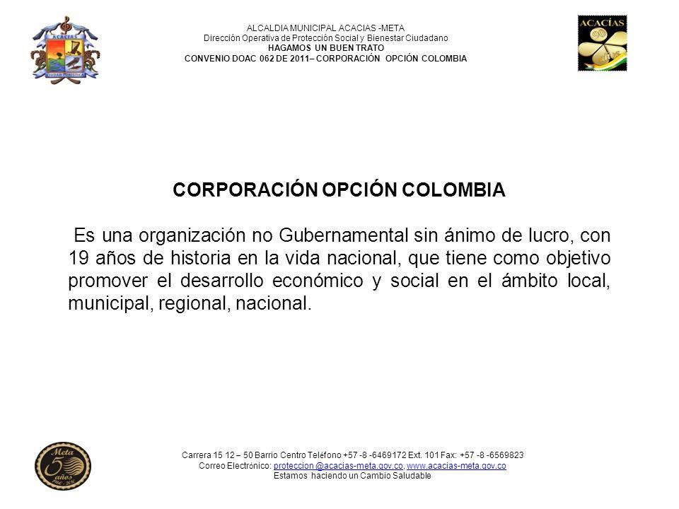 ALCALDIA MUNICIPAL ACACIAS -META Dirección Operativa de Protección Social y Bienestar Ciudadano HAGAMOS UN BUEN TRATO CONVENIO DOAC 062 DE 2011– CORPORACIÓN OPCIÓN COLOMBIA CONVENIO DOAC 062/2011 OBJETOCONTRATISTAVALORDURACION ASISTENCIA PSICOTERAPEUTICA A LAS VICTIMAS DE VIOLENCIA INTRAFAMILIAR, MALTRATO FÍSICO Y PSICOLOGO POR DELITOS SEXUALES QUE SE PRESENTAN EN EL MUNICIPIO DE ACACÍAS-META CORPORACIÓN OPCIÓN COLOMBIA Aporte Municipio $200.000.000 Aporte Corporación $25.400.000 PARA UN TOTAL DEL CONVENIO $225.400.000 10 (MESES) Carrera 15 12 – 50 Barrio Centro Tel é fono +57 -8 -6469172 Ext.