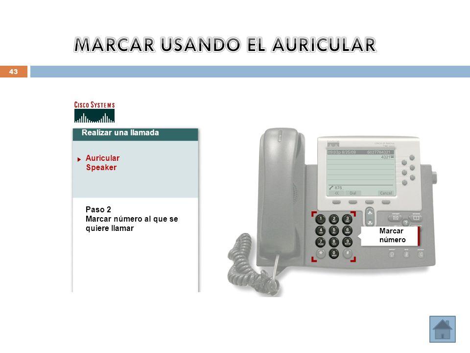 43 Realizar una llamada Auricular Speaker Paso 2 Marcar número al que se quiere llamar Marcar número
