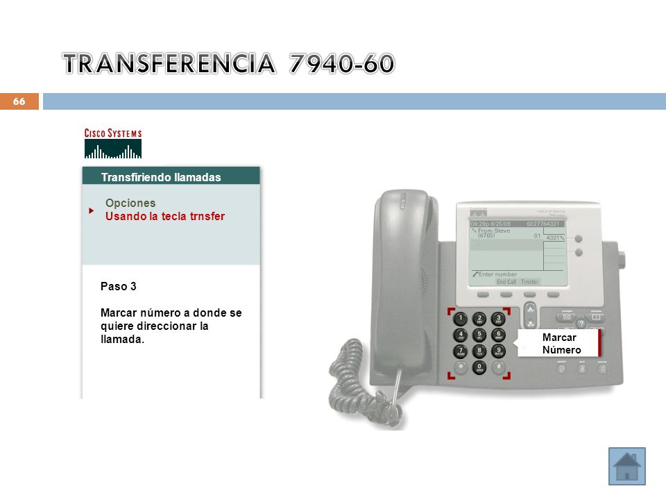 66 Transfiriendo llamadas Opciones Usando la tecla trnsfer Paso 3 Marcar número a donde se quiere direccionar la llamada. Marcar Número