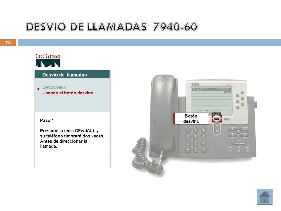 70 Desvío de llamadas OPCIONES Usando el botón desvInc Paso 1 Presione la tecla CFwdALL y su teléfono timbrará dos veces.