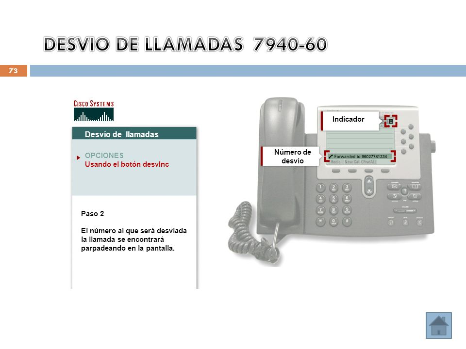 73 Desvío de llamadas OPCIONES Usando el botón desvInc Paso 2 El número al que será desviada la llamada se encontrará parpadeando en la pantalla. Núme