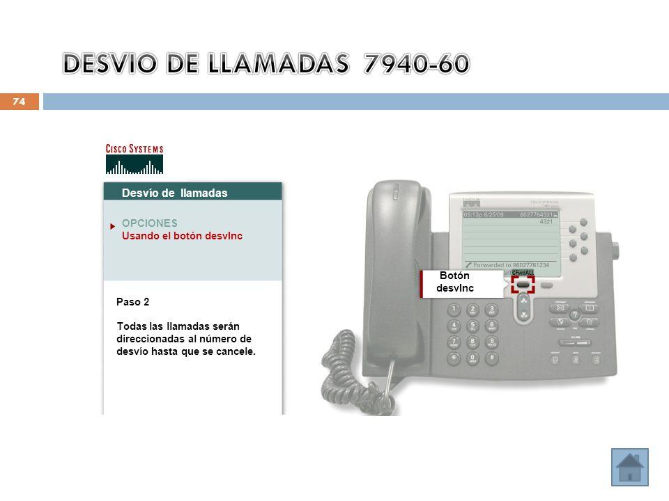 74 Desvío de llamadas OPCIONES Usando el botón desvInc Botón desvInc Paso 2 Todas las llamadas serán direccionadas al número de desvío hasta que se ca