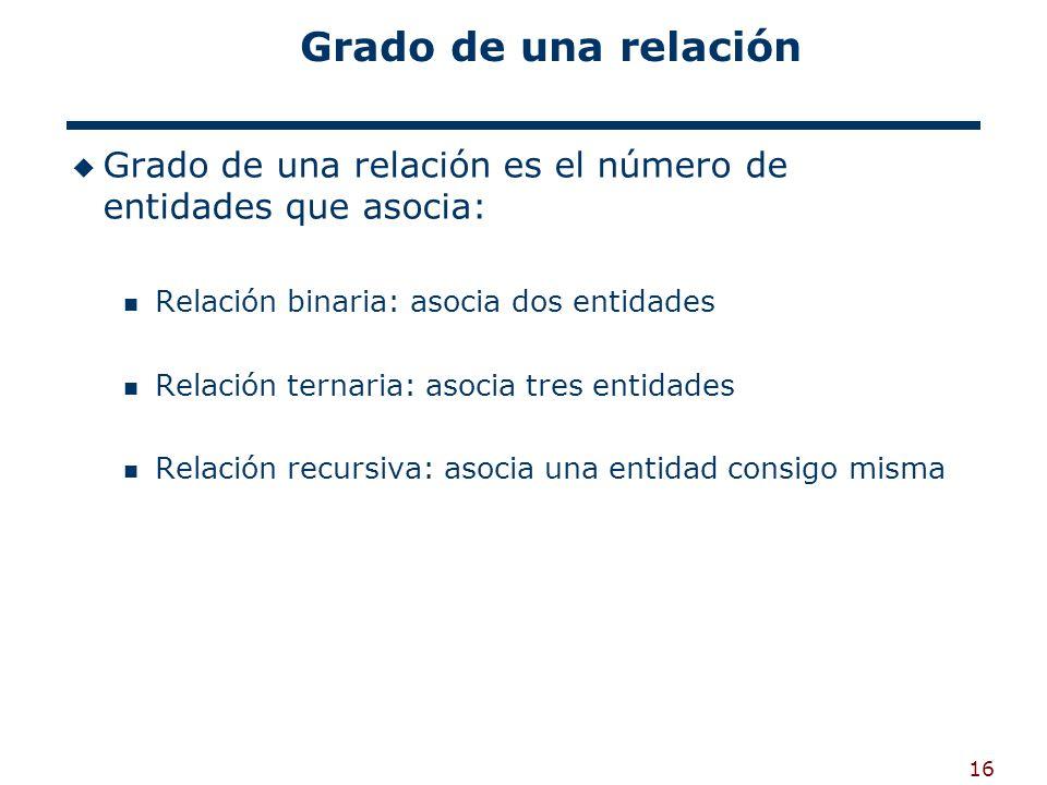 16 Grado de una relación Grado de una relación es el número de entidades que asocia: Relación binaria: asocia dos entidades Relación ternaria: asocia