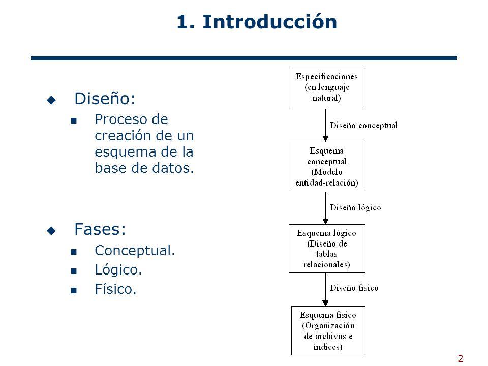 2 1. Introducción Diseño: Proceso de creación de un esquema de la base de datos. Fases: Conceptual. Lógico. Físico.