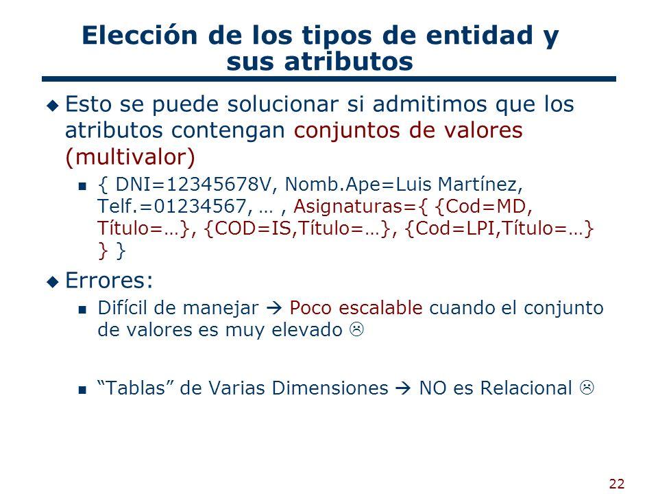 22 Elección de los tipos de entidad y sus atributos Esto se puede solucionar si admitimos que los atributos contengan conjuntos de valores (multivalor