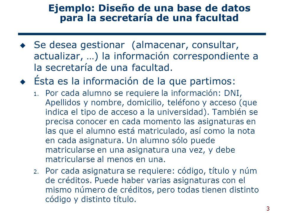 3 Ejemplo: Diseño de una base de datos para la secretaría de una facultad Se desea gestionar (almacenar, consultar, actualizar, …) la información corr