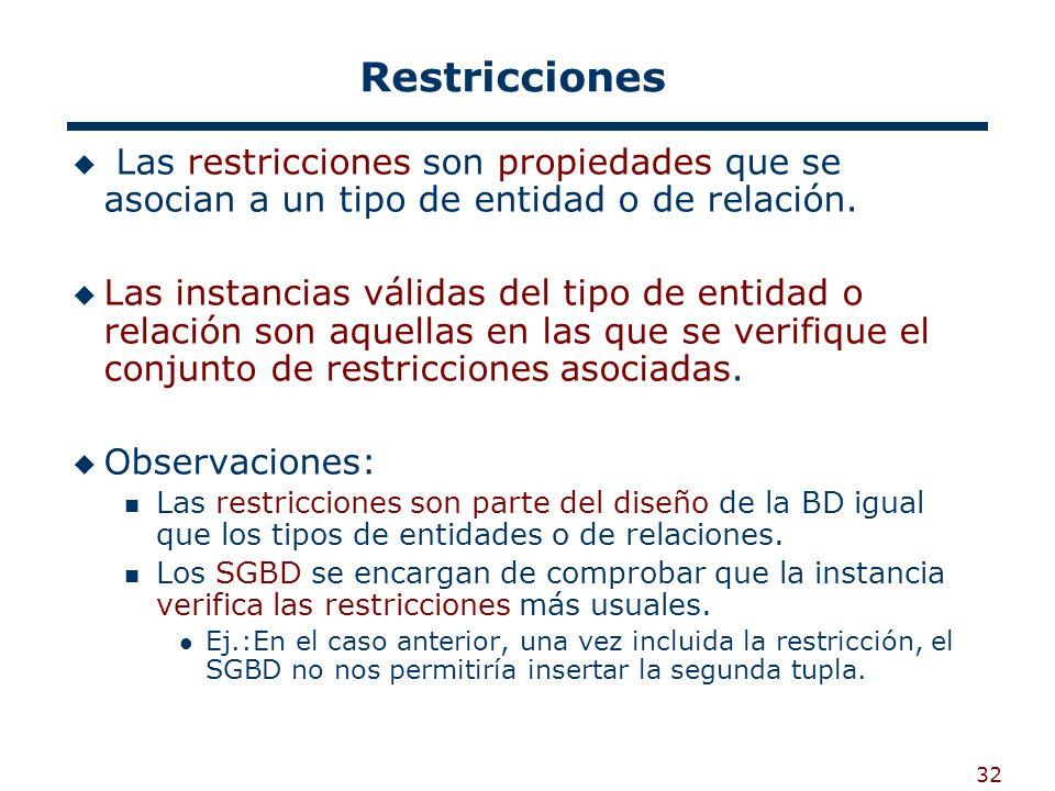 32 Restricciones Las restricciones son propiedades que se asocian a un tipo de entidad o de relación. Las instancias válidas del tipo de entidad o rel
