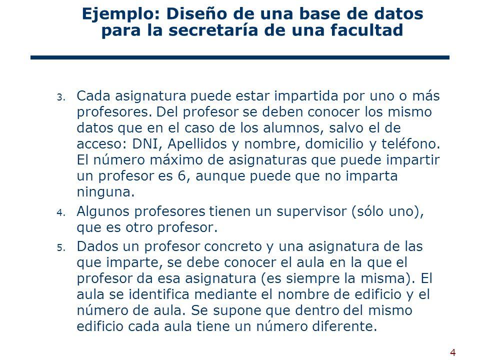 4 Ejemplo: Diseño de una base de datos para la secretaría de una facultad 3. Cada asignatura puede estar impartida por uno o más profesores. Del profe