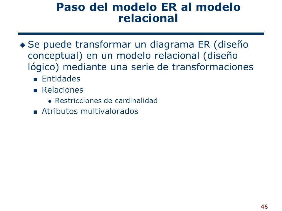 46 Paso del modelo ER al modelo relacional Se puede transformar un diagrama ER (diseño conceptual) en un modelo relacional (diseño lógico) mediante un