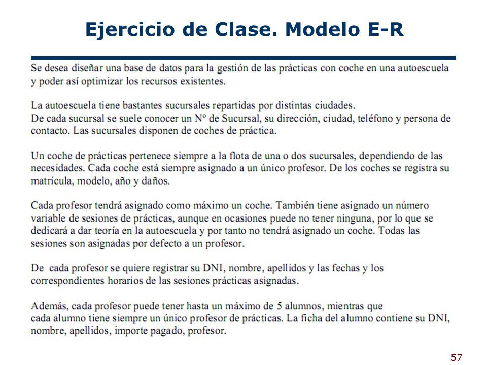 57 Ejercicio de Clase. Modelo E-R