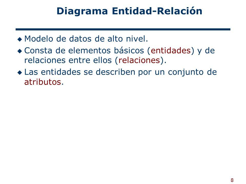 8 Diagrama Entidad-Relación Modelo de datos de alto nivel. Consta de elementos básicos (entidades) y de relaciones entre ellos (relaciones). Las entid