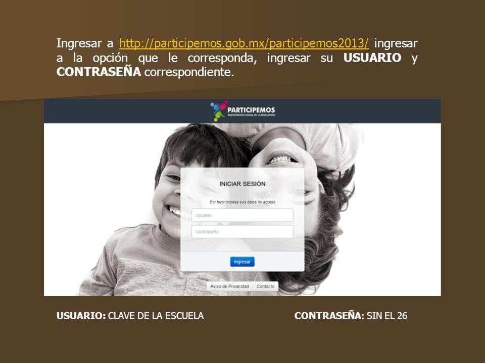 Ingresar a http://participemos.gob.mx/participemos2013/ ingresar a la opción que le corresponda, ingresar su USUARIO y CONTRASEÑA correspondiente.http