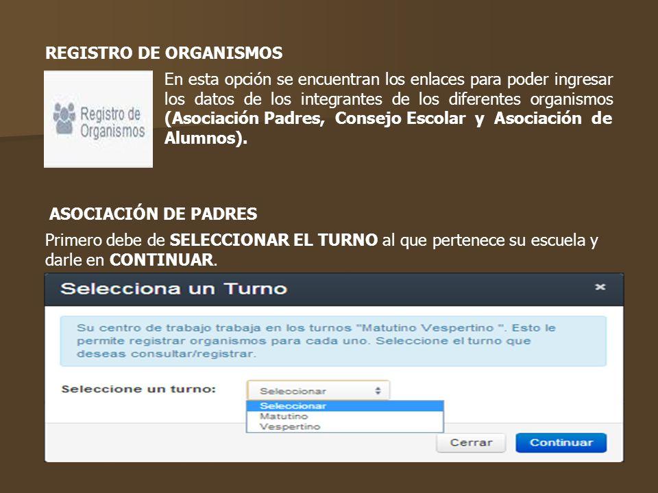 En esta opción se encuentran los enlaces para poder ingresar los datos de los integrantes de los diferentes organismos (Asociación Padres, Consejo Esc