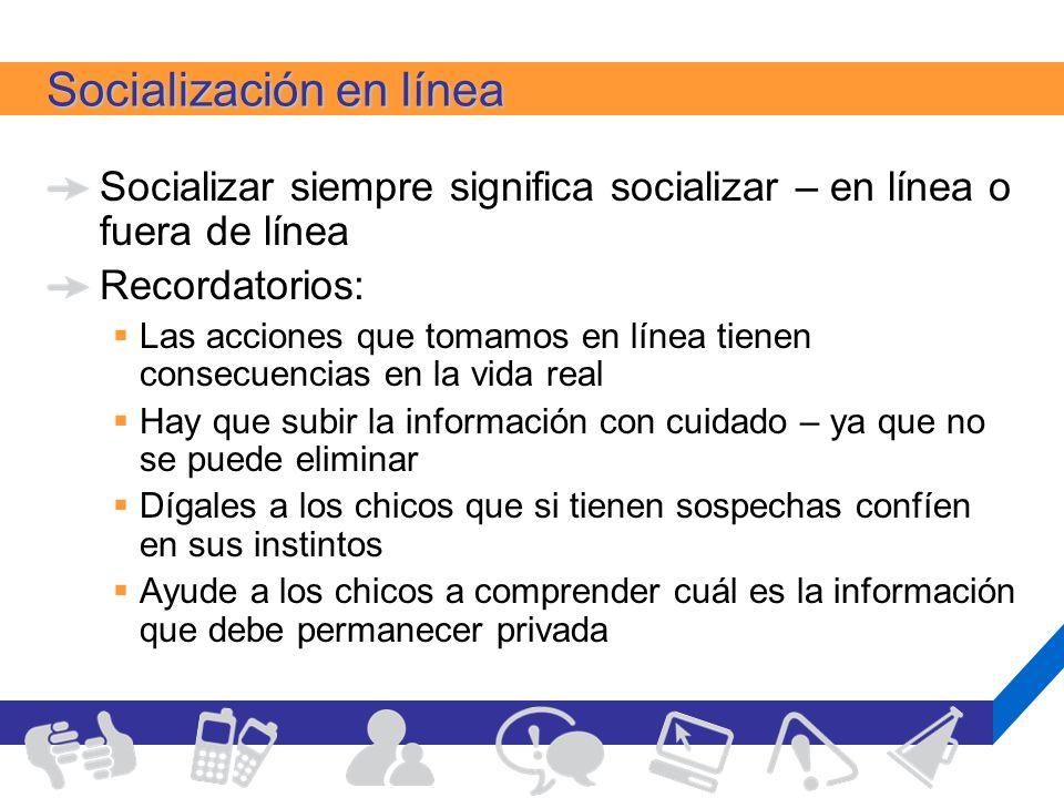 Socialización en línea Socializar siempre significa socializar – en línea o fuera de línea Recordatorios: Las acciones que tomamos en línea tienen con