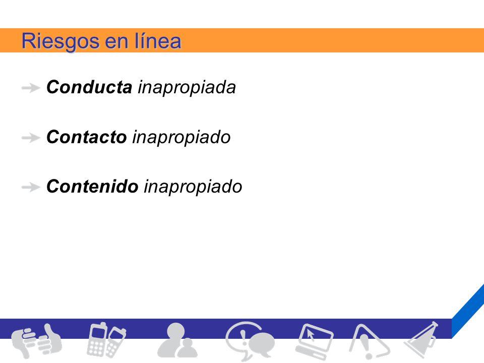 Riesgos en línea Conducta inapropiada Contacto inapropiado Contenido inapropiado
