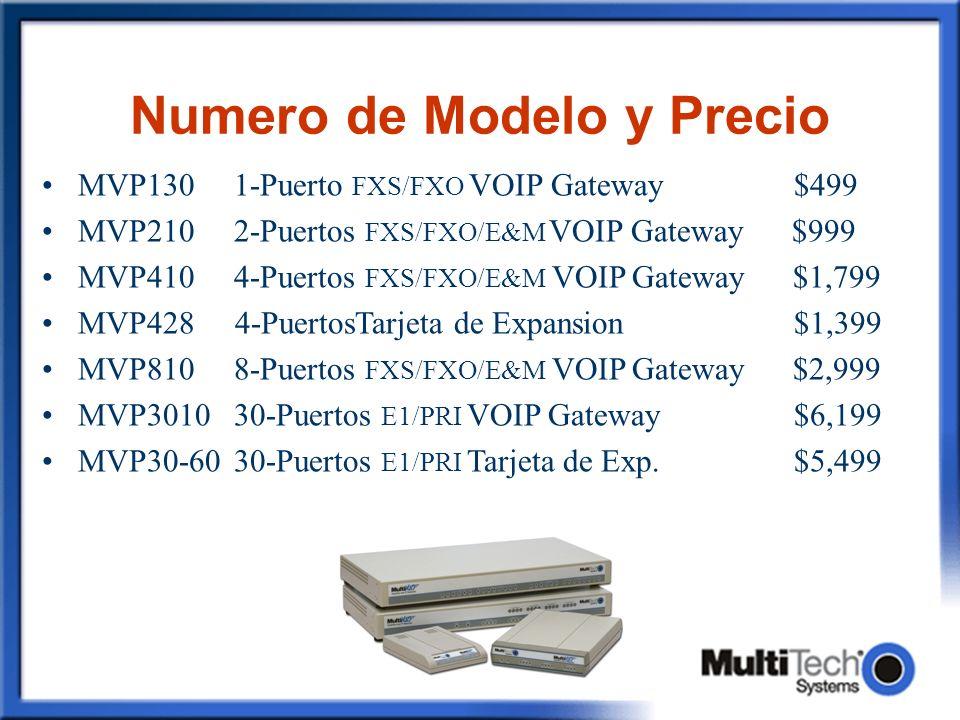 Numero de Modelo y Precio MVP1301-Puerto FXS/FXO VOIP Gateway $499 MVP210 2-Puertos FXS/FXO/E&M VOIP Gateway $999 MVP410 4-Puertos FXS/FXO/E&M VOIP Ga