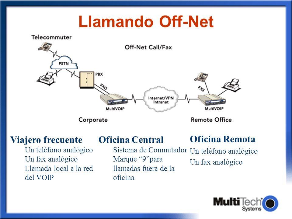 Llamando Off-Net Oficina Remota Un teléfono analógico Un fax analógico Oficina Central Sistema de Conmutador Marque 9para llamadas fuera de la oficina