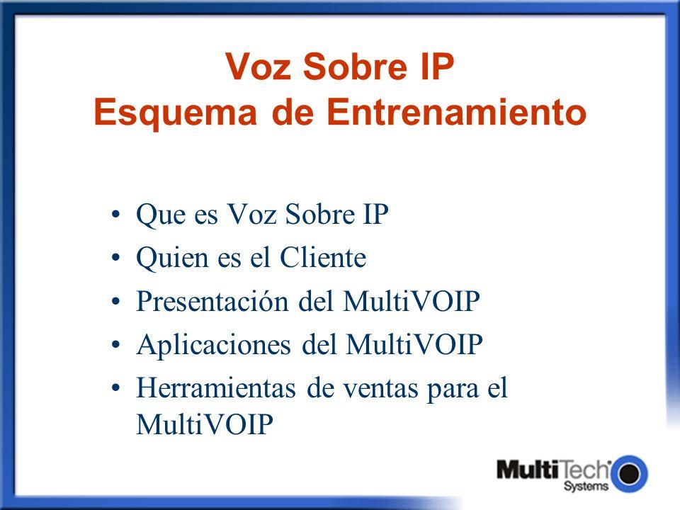 Voz Sobre IP Esquema de Entrenamiento Que es Voz Sobre IP Quien es el Cliente Presentación del MultiVOIP Aplicaciones del MultiVOIP Herramientas de ve