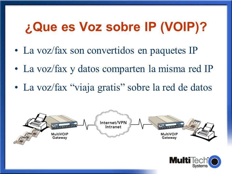 ¿Que es Voz sobre IP (VOIP)? La voz/fax son convertidos en paquetes IP La voz/fax y datos comparten la misma red IP La voz/fax viaja gratis sobre la r