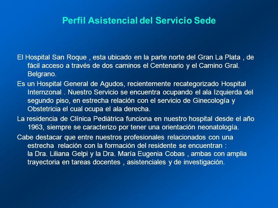 Perfil Asistencial del Servicio Sede El Hospital San Roque, esta ubicado en la parte norte del Gran La Plata, de fácil acceso a través de dos caminos