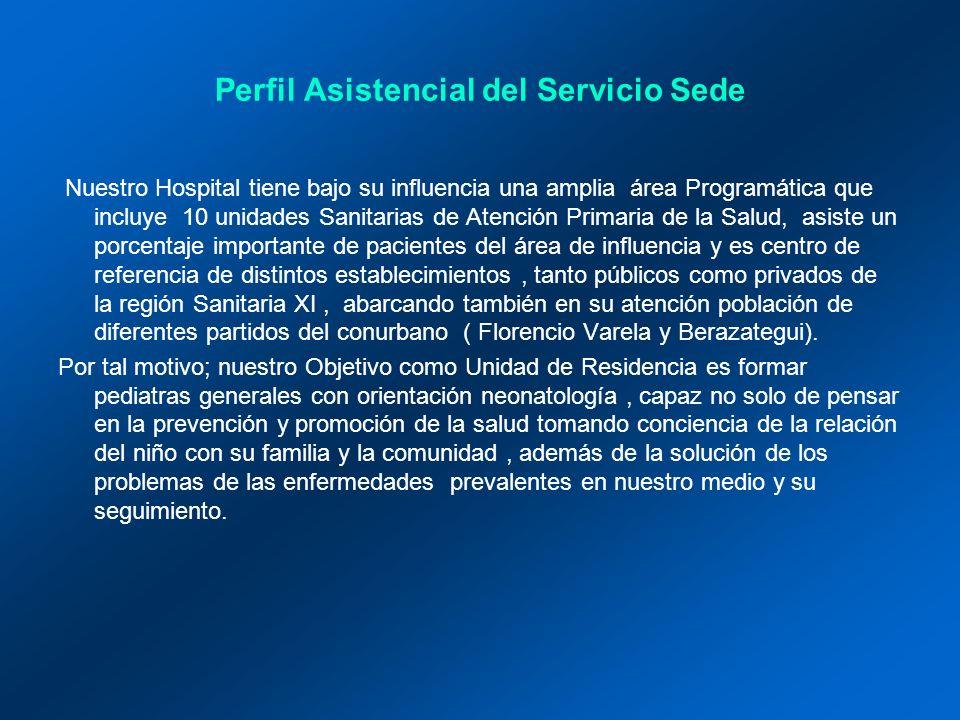 Actividad Asistencial Los residentes rotan por las tres áreas del Servicio (Sala de internacion de Clínica Pediátrica, Consultorio y Neonatología) por un periodo de 2 meses, es decir 4 meses al año.