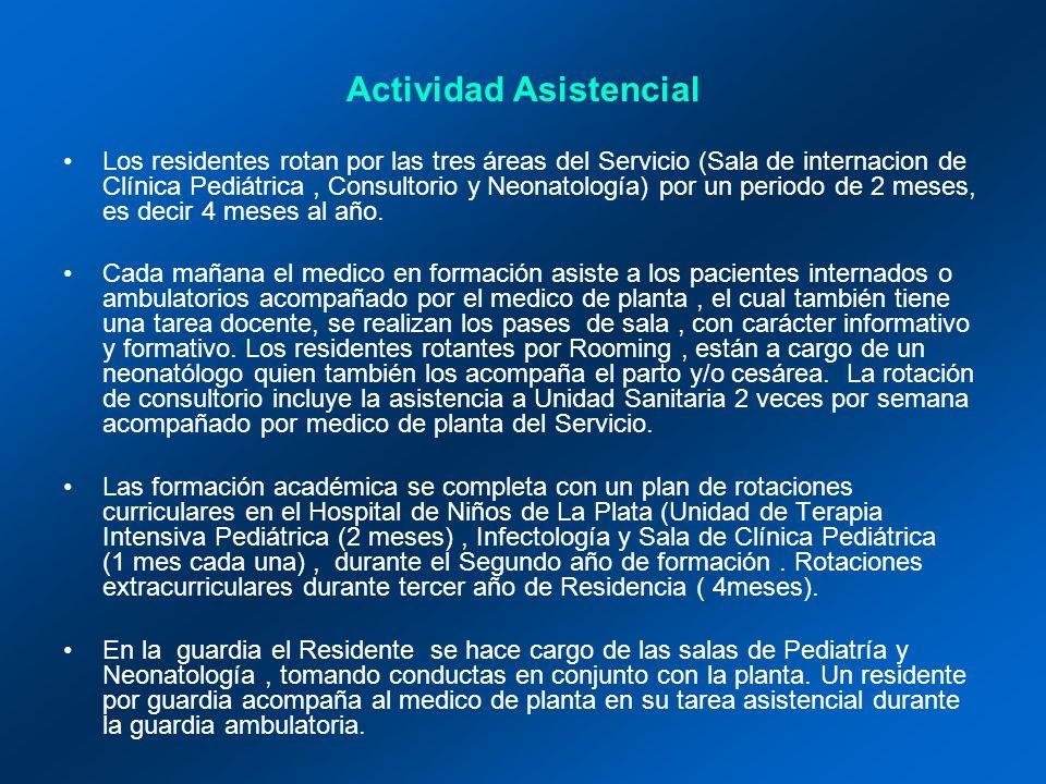 Actividad Asistencial Los residentes rotan por las tres áreas del Servicio (Sala de internacion de Clínica Pediátrica, Consultorio y Neonatología) por