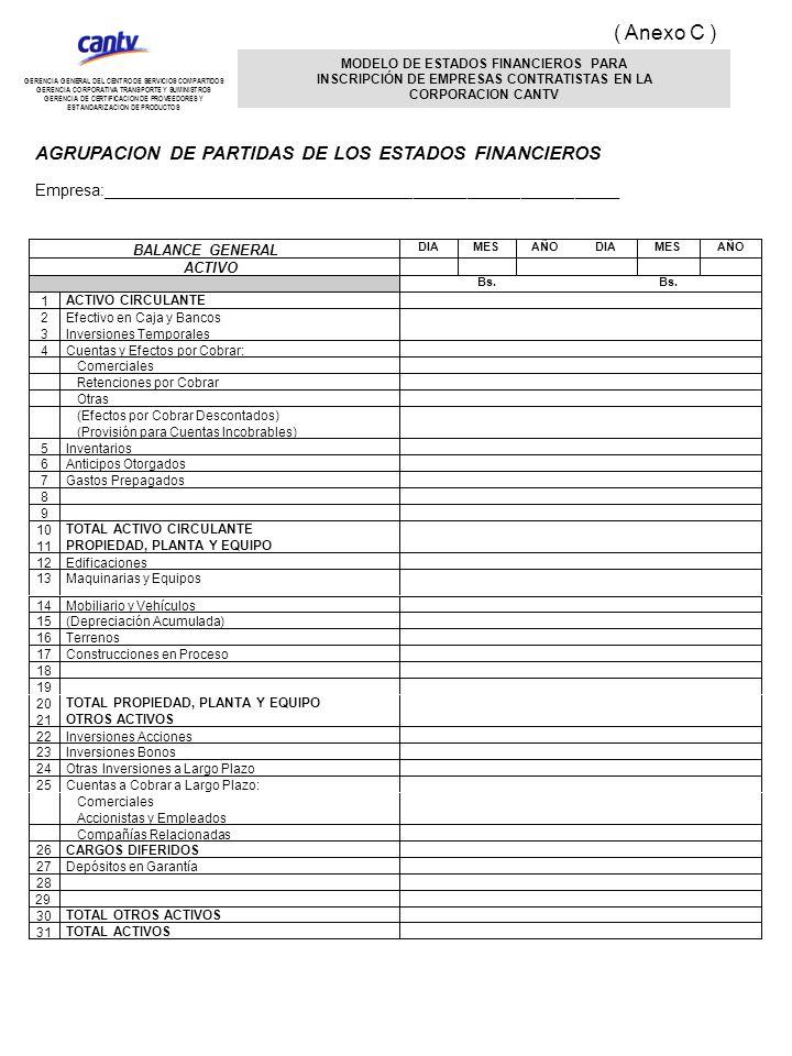 27Depósitos en Garantía 28 29 30 TOTAL OTROS ACTIVOS 31 TOTAL ACTIVOS MODELO DE ESTADOS FINANCIEROS PARA INSCRIPCIÓN DE EMPRESAS CONTRATISTAS EN LA CO