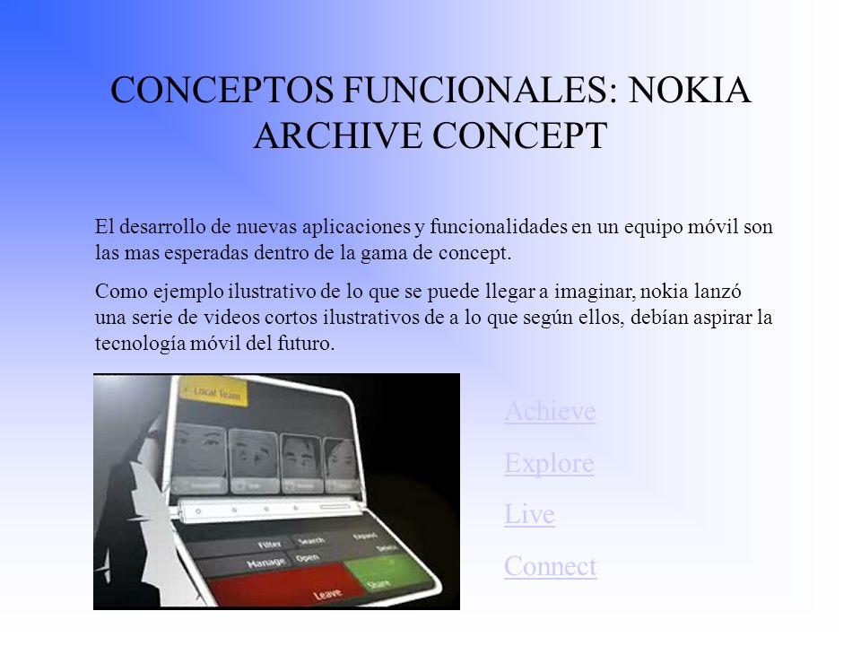 CONCEPTOS FUNCIONALES: NOKIA ARCHIVE CONCEPT El desarrollo de nuevas aplicaciones y funcionalidades en un equipo móvil son las mas esperadas dentro de