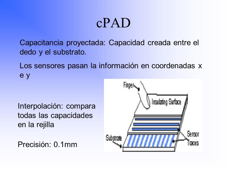 Capacitancia proyectada: Capacidad creada entre el dedo y el substrato. Los sensores pasan la información en coordenadas x e y Interpolación: compara
