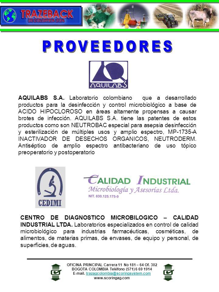 AQUILABS S.A. Laboratorio colombiano que a desarrollado productos para la desinfección y control microbiológico a base de ACIDO HIPOCLOROSO en áreas a