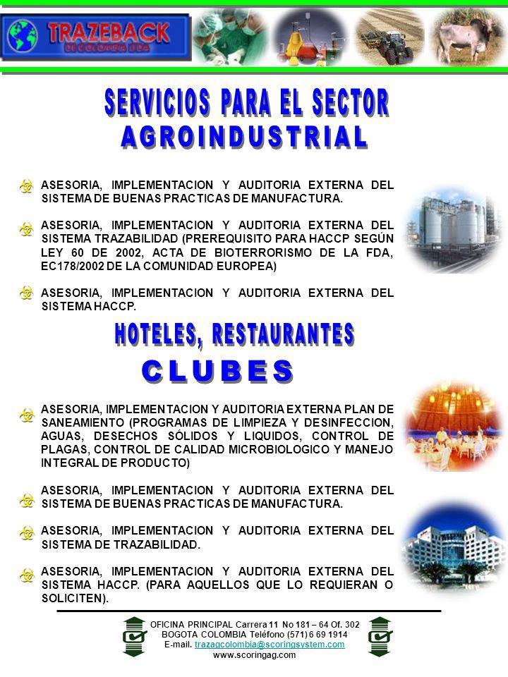 ASESORIA, IMPLEMENTACION Y AUDITORIA EXTERNA DEL SISTEMA DE BUENAS PRACTICAS DE MANUFACTURA.