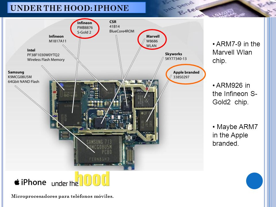 Microprocesadores para teléfonos móviles. UNDER THE HOOD: IPHONE ARM7-9 in the Marvell Wlan chip. ARM926 in the Infineon S- Gold2 chip. Maybe ARM7 in