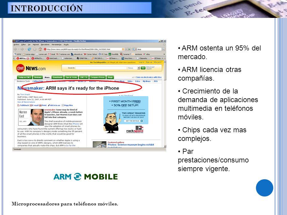 Microprocesadores para teléfonos móviles. INTRODUCCIÓN ARM ostenta un 95% del mercado. ARM licencia otras compañías. Crecimiento de la demanda de apli
